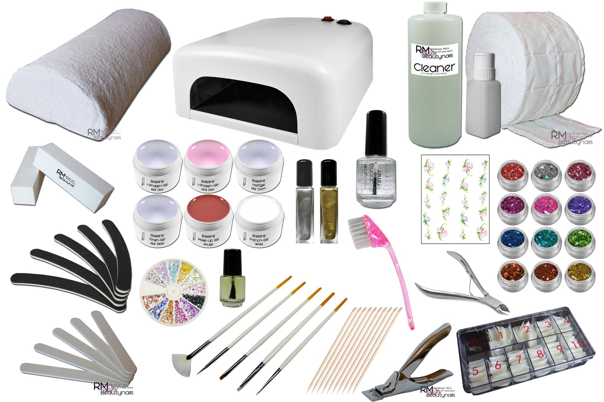 rm beautynails uv gel starterset uv lampe 36watt xxl fimo und glitter. Black Bedroom Furniture Sets. Home Design Ideas