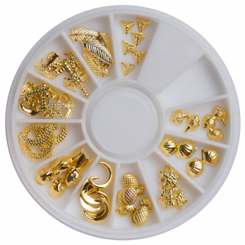 Charms Einleger im Rondell 11 Motive in Gold