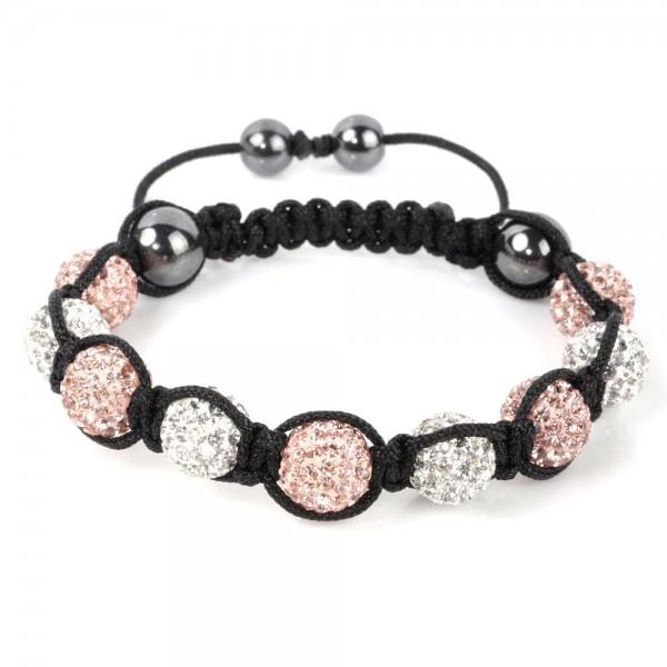 Shamballa Armband Kugel Perlen Kristall Naturstein Glitzer Kupfer